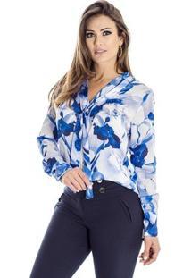 Camisa Orquídea Ana Hickmann - Feminino-Azul