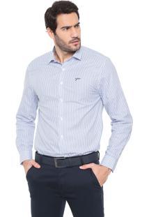Camisa Yachtsman Reta Listrada Branca/Azul-Marinho