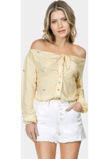 Camisa Manga Longa Laço Tecido Abeille - Lez A Lez