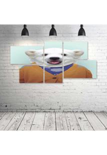 Quadro Decorativo - Human-Funny-Urso-Polar - Composto De 5 Quadros - Multicolorido - Dafiti