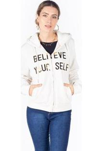 Jaqueta Moletom Femino Capuz Believe Your Self Besni Feminina - Feminino-Off White