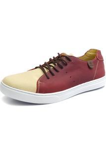 Sapatênis Casual Shoes Grand Estampado Creme/Bordo