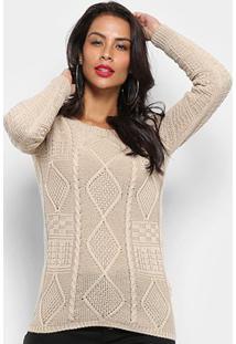 Tricô Fast Glam Suéter Tricot Desenhado Feminino - Feminino-Bege