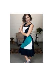 Vestido Bea Abdalla Tricolor Preto