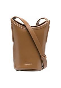 Kenzo Bolsa Bucket Mini De Couro - Marrom