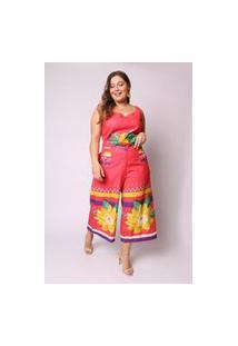 Calça Almaria Plus Size Munny Pantacourt Estampada Vermelho