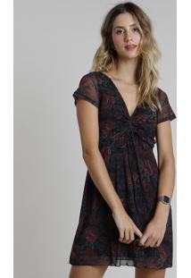 Vestido Feminino Curto Em Tule Estampado Floral Com Amarração Manga Curta Preto