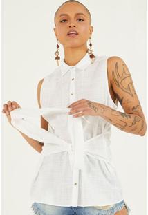 Camisa Texturizada Com Botãµes & Amarraã§Ã£O - Off Whitepop Up