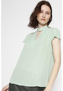 Blusa Com Pedraria- Verde Claro- Milioremiliore