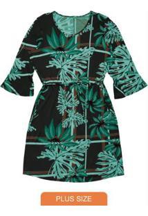 Vestido Estampado Rovitex Plus Size Preto
