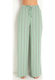 Calça Pantalona Listras Verde