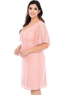 Vestido Forma Rara Plus Size Renda E Pedraria Nude-58