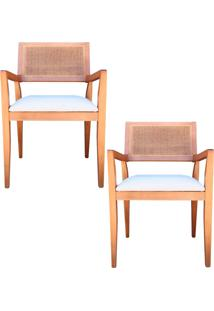 Kit 2 Cadeiras Decorativas Sala De Jantar Megan Amêndoa Linho Bege - Gran Belo - Tricae