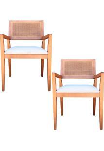 Kit 2 Cadeiras Decorativas Sala De Jantar Megan Amêndoa Linho Bege - Gran Belo