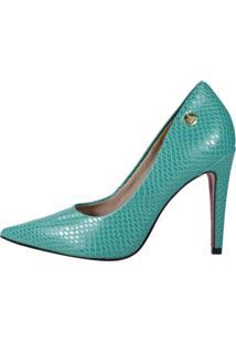 Scarpin Week Shoes Salto Alto Croco Verde