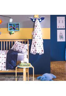 Toalha De Banho Baby Mariner- Branca & Azul Marinho-Santista