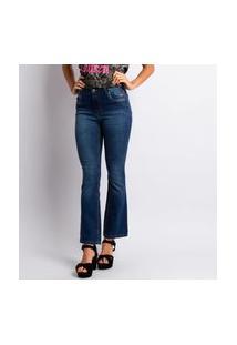 Calça Jeans Feminino Flare Lavagem Escura Estonada Jeans