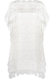 Tsumori Chisato Vestido Com Bordado De Renda - Branco