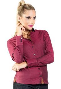 Camisa Carlos Brusman Feminina Slim Quadriculada - Feminino-Vinho