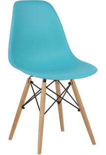 Cadeira Eiffel Charles Eames Azul Tiffany Com Base De Madeira Dsw - Tricae