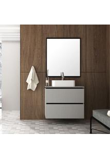 Gabinete Para Banheiro Elegante Mdf 80Cm Lilies Mã³Veis - Cinza/Preto - Dafiti
