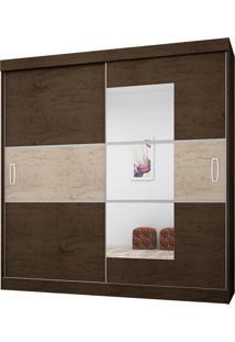 Guarda-Roupa Casal Com Espelho 2 Portas E 4 Gavetas 2040-Araplac - Imbuia / Avela