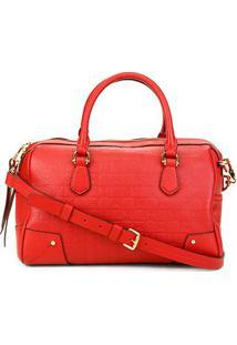 Bolsa Couro Carmim Handbag Alça Transversal Samara Feminina - Feminino-Vermelho