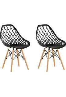 Conjunto Com 2 Cadeiras De Jantar Siberian Eiffel Preto