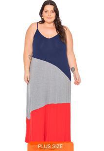 Vestido Feminino Longo Com Recortes Azul Marinho
