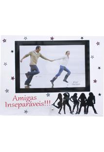 Porta Retrato Minas De Presentes De Vidro Amigas Inseparáveis 1 Foto 15X10Cm - Porta Retrato Branco
