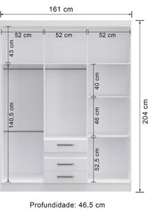 Guarda-Roupa 6 Portas Decibal Rp3630 Branco Se