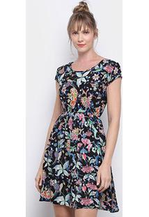 Vestido Pérola Evasê Curto Tropical Floral - Feminino-Preto