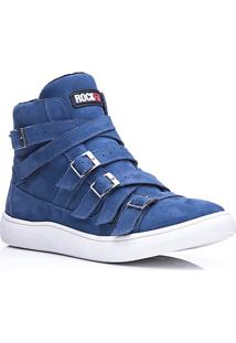 Tênis Masculino Rockfit Nirvana Em Couro Azul