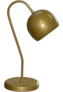 Abajur Para Mesa E Escrivaninha Modelo Bolinha Dourado