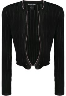 Pinko Cropped Ribbed Knit Cardigan - Preto