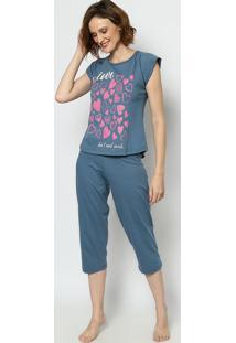 "Pijama ""Love""- Azul Escuro & Rosa- Zulaizulai"