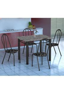 Conjunto De Mesa Genova Com 4 Cadeiras Alicante Preto Prata E Preto Floral