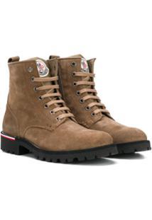 Moncler Kids Ankle Boot De Camurça Com Logo - Marrom