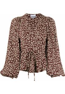 Ganni Blusa Com Transpasse E Estampa Floral - Marrom