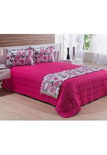 Cobre Leito Casal Queen Divino 04 Peças Tecido Microfibra Acompanha Xale - Cor 05 Pink