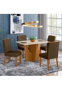 Conjunto De Mesa 1,20Cm Com 4 Cadeiras Espanha-Henn - Nature / Off White / Bege