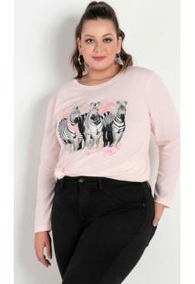 Blusa Rosa Clara Com Estampa Na Frente Plus Size