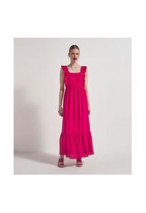 Vestido Longo Liso Sem Mangas Com Babados Marias   A-Collection   Rosa   G