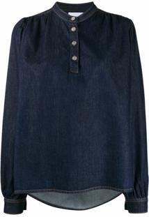 Ganni Blusa Jeans - Azul