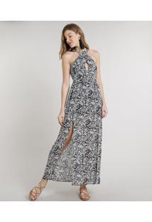 Vestido Feminino Longo Estampado Floral Com Alças Largas Preto