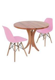 Conjunto Mesa De Jantar Tampo De Madeira 90Cm Com 2 Cadeiras Eiffel - Rosa