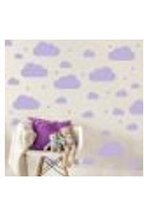 Adesivo Quarto Infantil Nuvens Roxo 64Un