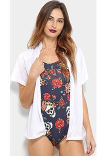 Camisa Saída De Praia Flora Zuu Feminina - Feminino-Branco