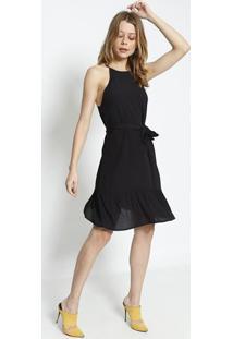 Vestido Texturizado Com Amarraã§Ã£O- Preto- Colccicolcci
