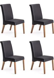 Conjunto Com 4 Cadeiras De Jantar Judite Preto E Imbuia